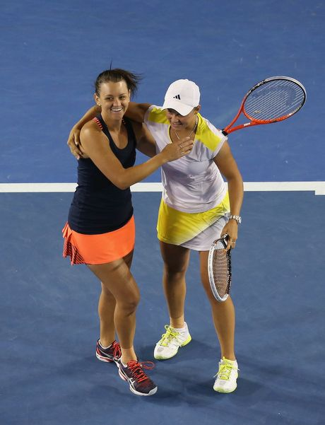 Casey Dellacqua and Ashleigh Barty of Australia celebrate after winning their doubles semi-final match against Varvara Lepchenko of the United States and Saisai Zheng of China during day ten of the 2013 Australian Open at Melbourne Park on January 23, 2013 in Melbourne, Australia.
