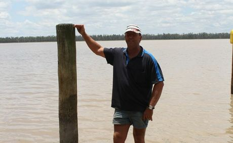 UNSAFE: Preseident of the Lake Broadwater Association, Noel Rockliff, shows where water levels should be, after closing the lake to power boats on Wednesday morning.