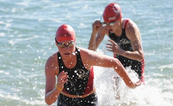 Jordan King and Matt Hauser will compete in Sunday's aquathon which has been moved to the Hervey Bay Aquatic Centre.