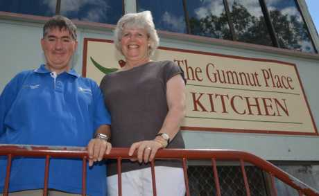 OPEN ARMS: Gumnut Place employee Chris Thompson with Nina Temperton.
