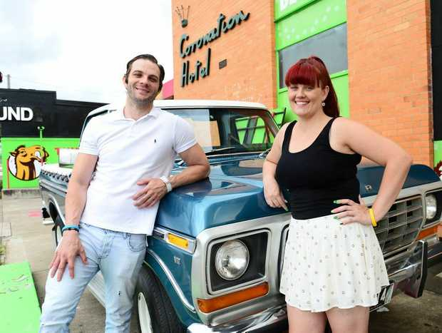 David and Bridget McLean with their with their late dad Jeff McLean's favourite F100.