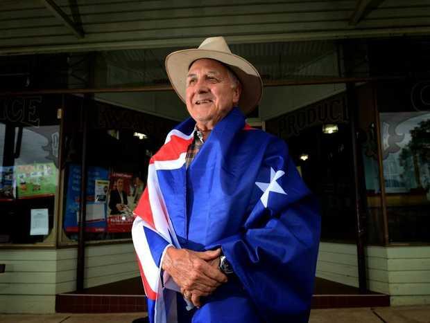 Dennis Scanlon is all dressed up for Australia Day in Tyalgum.
