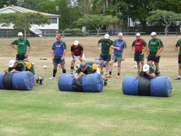 Darling Downs players performing training drills at last weekend's high performance rugby camp at UQ Gatton.