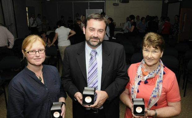 Darling Downs Hospital and Health Service Australia Day award winners (from left) Josie Skewes, Geoff Argus and Carol Batterham.