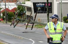 A woman was taken to hospital after a this 4WD crashed into a power pole on Limestone Street.