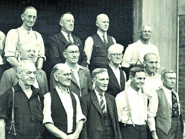 MEN OF STEEL: This group of men were employed in the Sheet Metal Shop at the Railway Workshops, North Ipswich. Mr W.S. Johnstone is second on the left in the front row and Bill McNamara is third from left in the middle row.