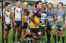 WRONG PATH: Sam Thaiday crashes a photo session demonstrating the links between Ipswich junior and senior league, the Ipswich Jets and Brisbane Broncos at North Ipswich Reserve on Thursday.