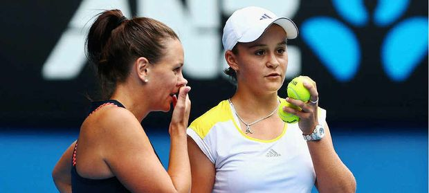 Ipswich product Ashleigh Barty (right) and doubles partner Casey Dellacqua.