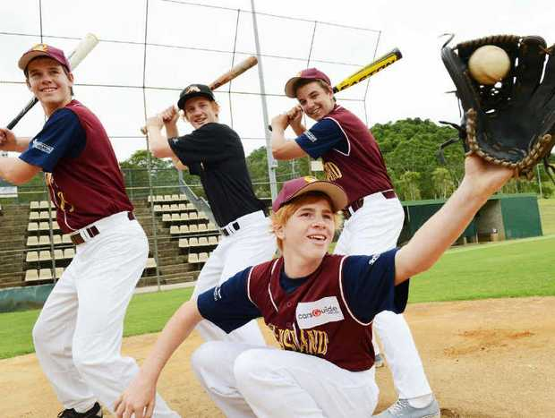 STRUTTING THEIR STUFF; Far North Coast baseball players, Kodey Welford, 13, in front, and back, from left, Dean Gillespie,17, Corey Welford,17, and Sam Martin,15, were among a contingent just returned from the National Youth Championships.