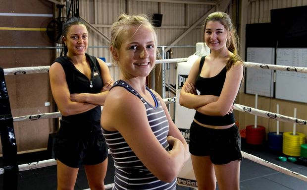 Fighting Fit trainer Christy Cotroneo (left) will soon begin a health program for teenage girls with both Hayley Jaeger (centre) and Taylah Waldron already signed up.