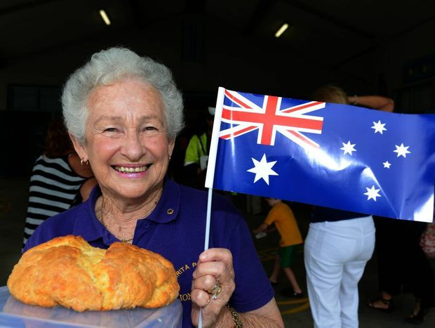 Australia Day 2013. Mary Collis with her winning Damper. Photo: John Gass / Daily News