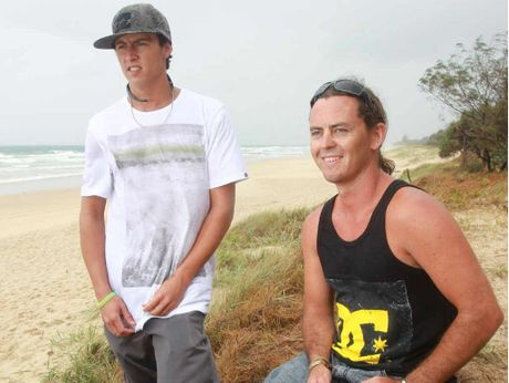 RESCUE HEROES: Mates Damon Bell (left) and Blake Cole risked their lives to help tourists who were caught in a rip at Marcoola Beach.