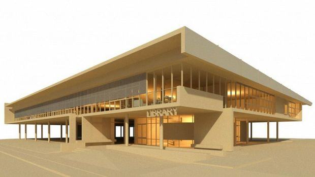 AN artist's impression of the Sir Earle Page Library to be built in Grafton. A ceremony to celebrate the start of construction of the building scheduled for tomorrow has been postponed.