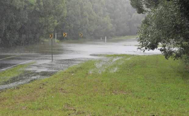 Bangalow-Lismore Road, flooded near Binna Burra on Monday. Photo Mireille Merlet-Shaw / The Northern Star