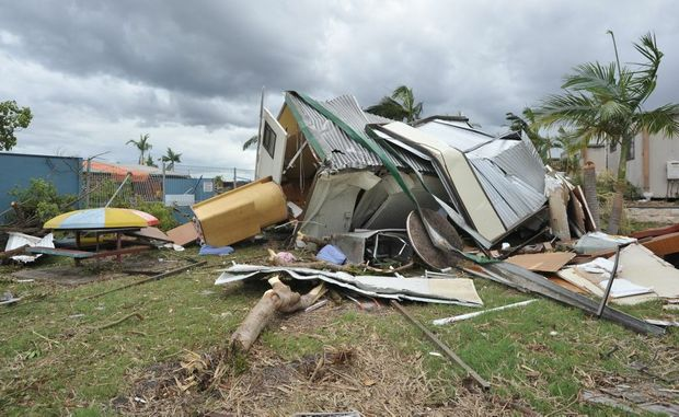 Crumpled buildings at the Hillcrest Caravan Park in Burrum Heads are adding to the total cost of damage on the Fraser Coast.
