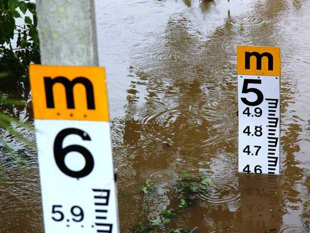 Water depth – the Tweed River at 2pm on Monday. Photo: Fran Silk