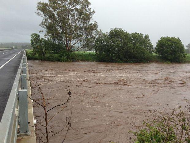 A raging Lockyer Creek at Gatton.