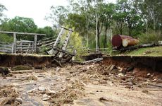 The damaged remains of a cattle crush and ramp on a property in Upper Widgee. These had been fully replaced after the 2011 floods.