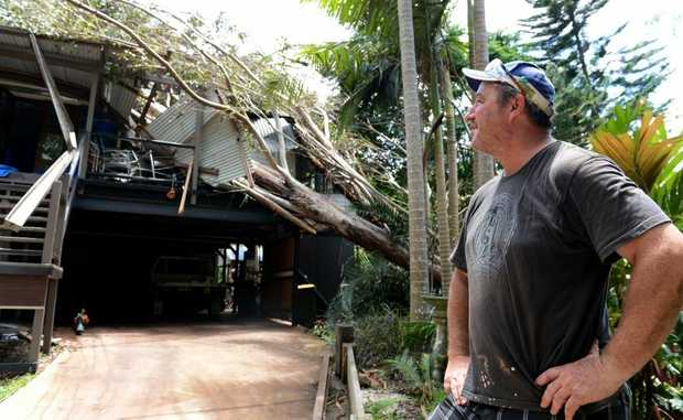 Warren Higgins with his house, which copped a tree through the roof this week.