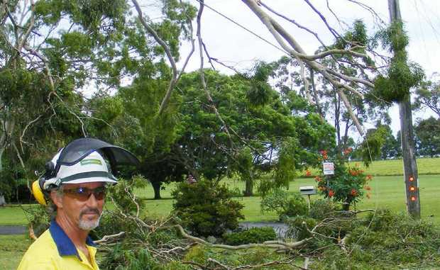 ON THE LINE: Essential Energy workers battle winds and weather to restore power.
