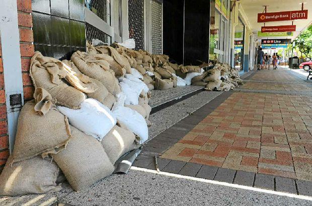 Bourbong St shops were sandbagged against potential flooding of the Bundaberg CBD's main avenue.