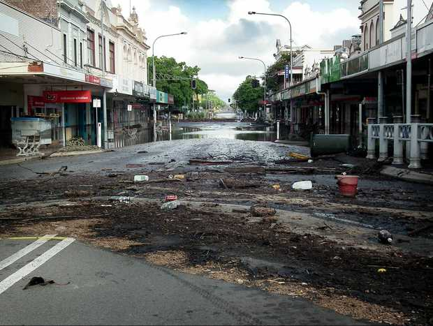 Kent St in Maryborough on Wednesday morning as floodwaters recede.
