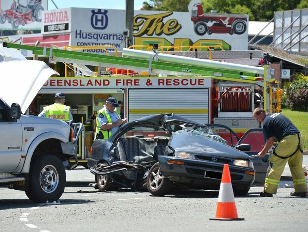 The scene of a fatal  two-car crash on the corner of Steve Irwin Way and Beerwah-Kilcoy Road.