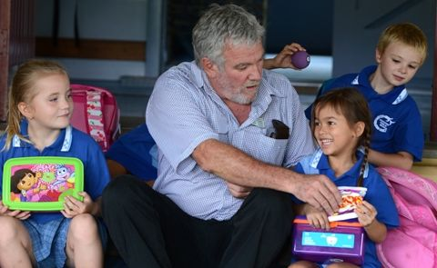 Condong Public School Principal Terry Timms with children on their first day.