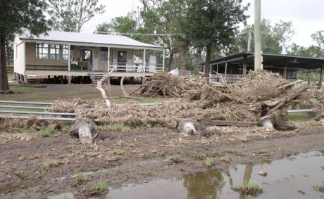 TOTAL DEVASTATION: The Kilkivan Showgrounds has been destroyed by flood water for the second time in two years.
