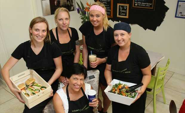 Wendy Brown of Urban Espresso & Wine surrounded by her staff, Lily Nalder, Lyndel Gray, Bronte Blain and Chef - Michelle Hurley.