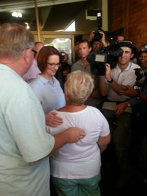 Prime Minister Julia Gillard comforts flood victims in Bundaberg.