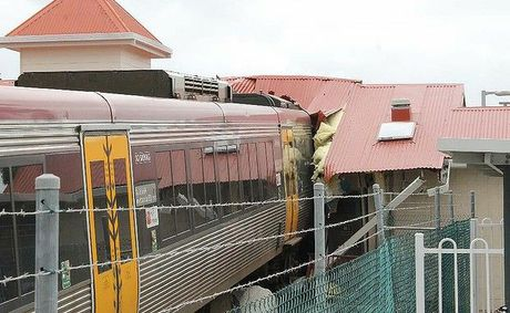 Damage after a train went off the tracks at Cleveland Station.