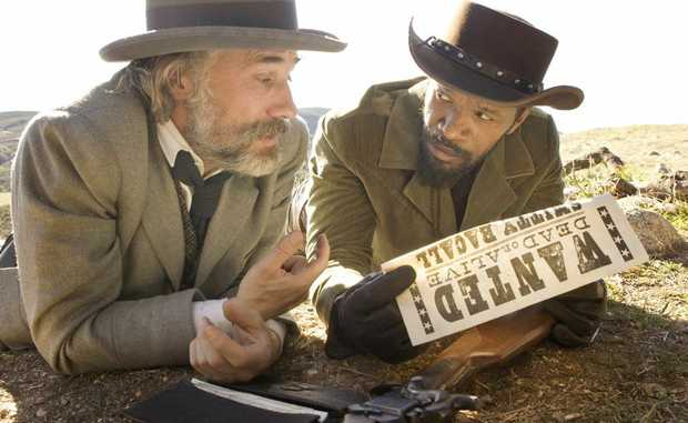 FOR REVIEW AND PREVIEW PURPOSES ONLY. Christoph Waltz, left, and Jamie Foxx star in a scene from the movie Django Unchained. Supplied by Sony Pictures Australia. Please credit photo to Andrew Cooper.