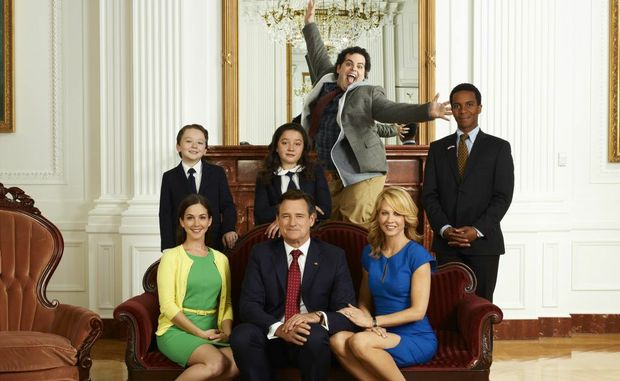 The cast of the TV series 1600 Penn, from left, Benjamin Stockham, Martha MacIsaac (seated), Bill Pullman (seated), Amara Miller, Josh Gad, Jenna Elfman (seated) and Andre Holland.