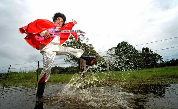 Kevin Martin as Elvis rocks in the flood.