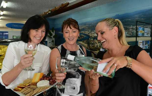 Andrea Saville, Belinda Dinsey and Belinda Trotman at DJ Stringer real estate Coolangatta.