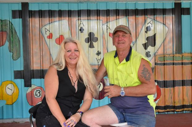 ARTISTIC FLAIR: Vikki Jimenez and Mark Degoumois in his backyard at Nanango. Photo: Louise Cheer / South Burnett Times