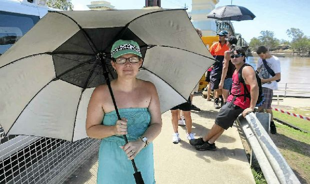ANGRY: Jasmine Moas waited at the Burnett Traffic Bridge for more than two hours yesterday – only to be turned back.