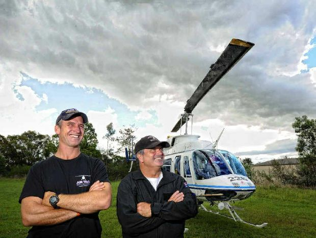 T&G Helicopters' Andrew McClymont and Tod Jackson. Photo: JoJo Newby Photography