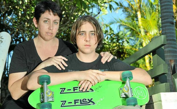 Gaige Dracoulis, 14, with mum Michelle.