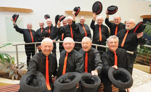Derek Applegate, Sean McKeogh, Tom Wilson and Bill Caton are members of the Mansong choir performing at the flood concert on Sunday at the Brolga.