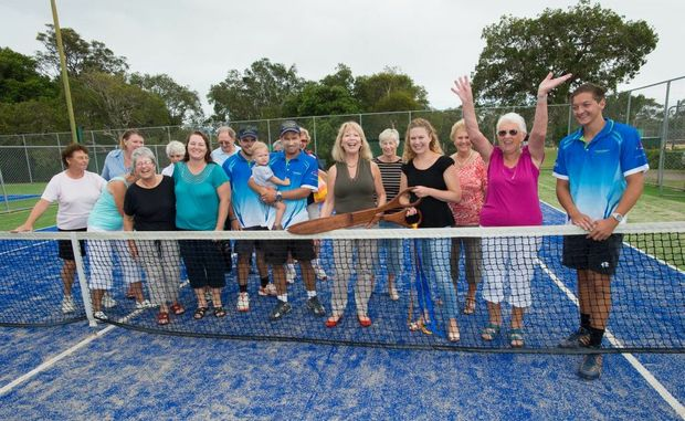 Coffs Harbour City Council mayor Denise Knight was on hand to officially open the new synthetic grass courts at Sawtell Tennis Club. Photo: Trevor Veale / Coffs Coast Advocate