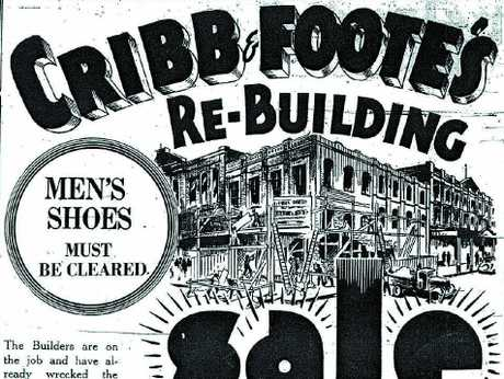 GRAND PLANS: Messrs Cribb & Foote commenced business in Ipswich in 1849 and its premises underwent many extensions and alterations until fire demolished the final premises in 1985. This advertisement shows the store as it was being rebuilt in June 1938.