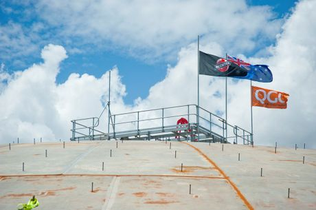 Bechtel has achieved a first for Gladstone by raising a huge roof onto one of the LNG tanks on Curtis Island using air pressure.