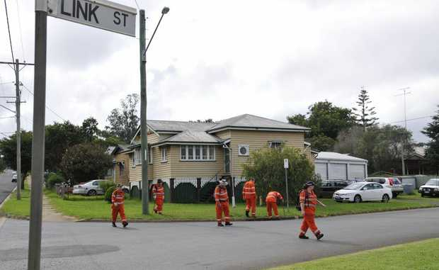 State Emergency Services volunteers search for weapons in a 1km radius around the site of Toowoomba man Joel Walters' murder.