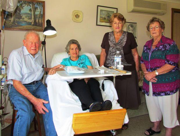 Eddie and Joan Addison applaud the efforts of ETC's Lorraine Mouafi and Nambucca Valley Dialysis Group secretary Rhona Freeman.