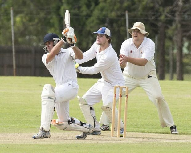 Metropolitan-Easts batsman Darren Koch plays a shot during his 111-run stand with Peter Reimers against University on Saturday.