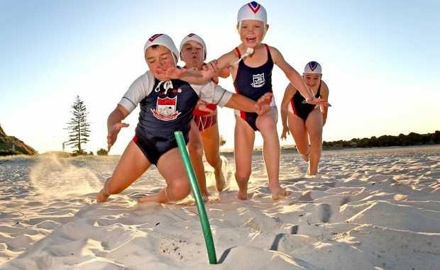 Kids accomplishing :Nippers Zandah Watson, Amadeus Bellenger, Ella Hogben and Claire Rendall at Coolangatta surf club.