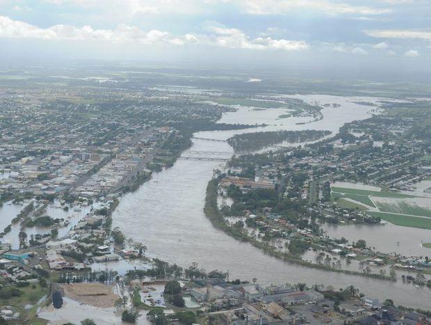 Aerial shot of the Burnett River in flood at Bundaberg.