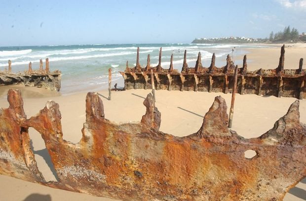 Exposed wreck of cargo ship SS Dicky which grounded at Dicky Beach in 1893.